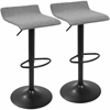 Ale XL Contemporary Adjustable Barstool in Black and Grey - Set of 2
