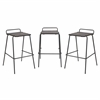 LumiSource Set Of Three Stackable Blake Barstools in Walnut Wood