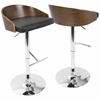 Chianti Mid-Century Modern Barstool in Walnut and Black PU