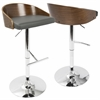 Chianti Mid-Century Modern Barstool in Walnut and Grey PU