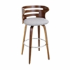 LumiSource Cosini Barstool with Swivel, Walnut / Grey