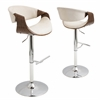 Curvo Height Adjustable Barstool with Swivel, Walnut / Cream