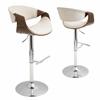 LumiSource Curvo Height Adjustable Barstool with Swivel, Walnut / Cream