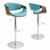 LumiSource Curvo Height Adjustable Barstool with Swivel, Walnut / Teal