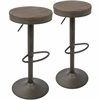 LumiSource Dakota Barstool in Antique and Brown, Set of 2