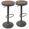 LumiSource Dakota Barstool in Brown and Grey -Set of 2