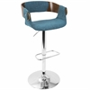 Envi Mid-Century Modern Adjustable Barstool in Walnut and Blue Teal
