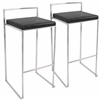 LumiSource Fuji Stackable Barstool  Black, Set of 2