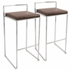 LumiSource Fuji Stackable Barstool  Brown, Set of 2