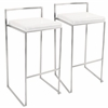 LumiSource Fuji Stackable Barstool  White, Set of 2