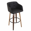 LumiSource Bruno Barstool with Swivel, Walnut / Black