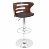 LumiSource Cosi Height Adjustable Barstool with Swivel, Walnut / Brown