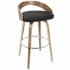 Grotto Mid-Century Modern Barstool in Zebra Wood and Black PU