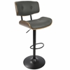 Lombardi Mid-Century Modern Adjustable Barstool in Walnut and Grey
