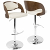 Pino Mid-Century Modern Adjustable Barstool with Swivel in Walnut and Cream