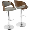 Pino Mid-Century Modern Adjustable Barstool with Swivel in Walnut and Grey