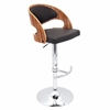 LumiSource Pino Height Adjustable Barstool with Swivel, Zebra / Brown