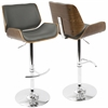 Santi Mid-Century Modern Adjustable Barstool in Walnut and Grey