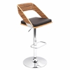 LumiSource Vuno Height Adjustable Barstool with Swivel, Zebra / Brown