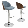 LumiSource Luna Height Adjustable Barstool with Swivel, Walnut / Blue