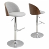 Luna Height Adjustable Barstool with Swivel, Walnut / White Smoke