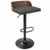 Maya Mid-Century Modern Adjustable Barstool in Walnut Wood and Charcoal Fabric