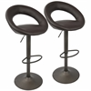 LumiSource Metro Barstool in Brown with Antique Frame -Set of 2