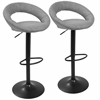 Metro Contemporary Adjustable Barstool in Grey with Black Frame -Set of 2