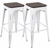 Oregon Industrial Barstool with Vintage White Frame and Espresso Wood -Set of 2