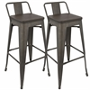 Oregon Industrial Low Back Bar Stool with Antique Frame and Espresso Wood -Set of 2