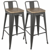 Oregon Industrial Low Back Bar Stool with Grey Frame and Brown Wood -Set of 2