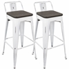 Oregon Industrial Low Back Bar Stool with Vintage White Frame and Espresso Wood -Set of 2