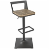 LumiSource Samurai Barstool with Grey Frame and Brown Wood
