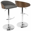Shiraz Mid-Century Modern Adjustable in Walnut and Grey