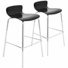 LumiSource Woodstacker Stackable Barstool  Black, Set of 2
