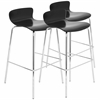 LumiSource Woodstacker Stackable Barstool - Set Of 3, Black