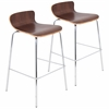 LumiSource Woodstacker Stackable Barstool  Walnut, Set of 2
