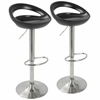 Swizzle Contemporary Adjustable Barstool in Matte Black with Stainless Steel Finish -Set of 2
