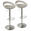 Swizzle Contemporary Adjustable Barstool in Matte Grey with Stainless Steel Finish -Set of 2