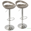 Swizzle Contemporary Adjustable Barstool in Light Brown with Stainless Steel Finish -Set of 2