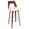 LumiSource Trilogy Barstool, Walnut / Cream
