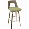 Trilogy Mid-Century Modern Barstool in Walnut and Green