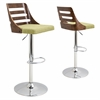 LumiSource Trevi Height Adjustable Barstool with Swivel, Walnut / Green
