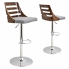 LumiSource Trevi Height Adjustable Barstool with Swivel, Walnut / Grey