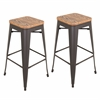 LumiSource Oregon Stackable Barstool  Medium Brown Top / Grey Finish, Set of 2