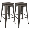 LumiSource Oregon Stackable Barstool  Dark Espresso Top / Antique Finish, Set of 2