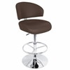 LumiSource Regent Height Adjustable Barstool with Swivel, Brown