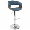 Vintage Mod Mid-Century Modern Adjustable Barstool in Walnut and Blue with Swivel