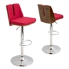 LumiSource Varzi Height Adjustable Barstool with Swivel, Walnut / Red
