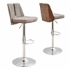 LumiSource Varzi Height Adjustable Barstool with Swivel, Walnut / Taupe